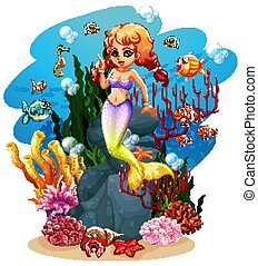 Mermaid and many fish in the ocean illustration