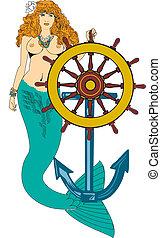 Mermaid and ships wheel - Hand drawn mermaid, great body,...
