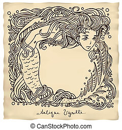 mermaid - antique vignette