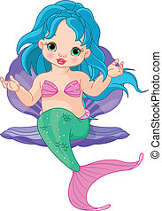 Mermaid baby in the shell - Illustration of a cute baby...