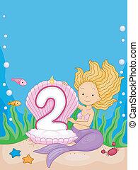 Mermaid Birthday Candle - Illustration of a Mermaid Looking...