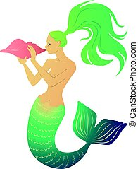 Mermaid blowing a conch horn - Mermaid blowing conch shell...