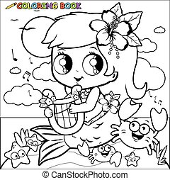 Mermaid by the sea playing music with her lyre. Black and white coloring book page.