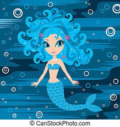 Mermaid cartoon - Vector illustration, color full