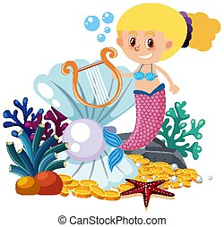 Mermaid cartoon on white background