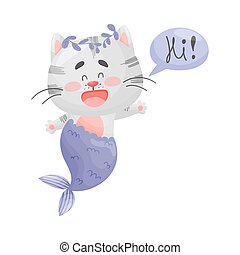 Mermaid cat welcomes. Vector illustration on a white background.