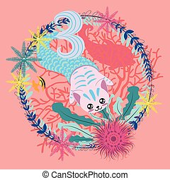 Mermaid cat with seaweed - Cute cartoon mermaid cat with...