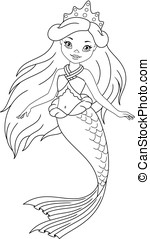 Mermaid Coloring Page - Little Princess Mermaid on white...