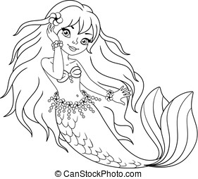 Mermaid Coloring Page - Little mermaid girl on a white...