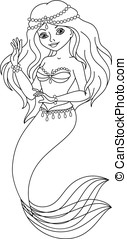 Mermaid coloring page - Beautiful princess mermaid on a...