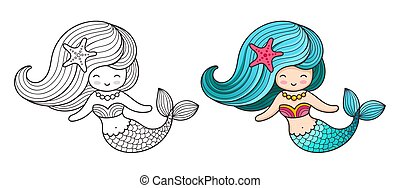 Mermaid. Cute cartoon character.