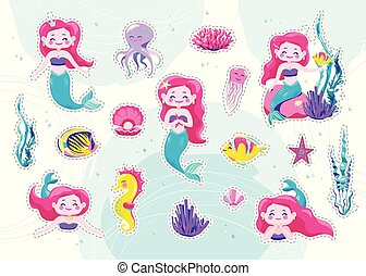 Mermaid cute stickers, cartoon little princess patch. Vector illustration. Fun sea character design isolated on white background