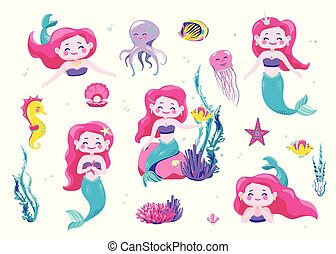 Mermaid cute stickers, cartoon little princess. Vector illustration. Fun sea character design isolated on white background. Cool hand drawn elements