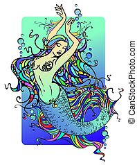 Mermaid - dancing mermaid with beautiful detailed hair and...