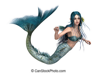 Mermaid - 3D digital render of a cute mermaid isolated on...