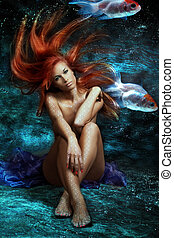 mermaid - mythology being, mermaid in underwater scene,...