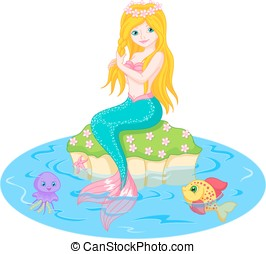 Mermaid - Vector illustration of a cute mermaid girl