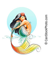 mermaid fairy-tale character illustration on white...