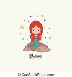 mermaid fantastic character in a rock with colorful sparks and stars on white background