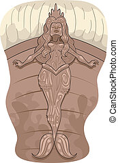 Illustration of a Pirate Ship Figurehead with a Mermaid Design