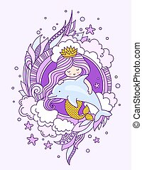 Mermaid, floating with dolphin. Princess with beautiful violet long hair. Vector colored illustration for card, postcard, invitation.