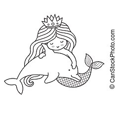 Mermaid, floating with little dolphin.