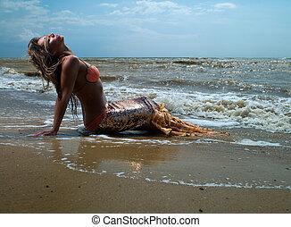 mermaid girl near the coast with a beautiful tail