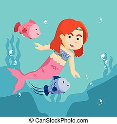 mermaid girl playing with fish