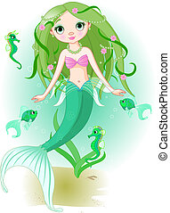 Mermaid Girl under the sea - Vector illustration of a cute...
