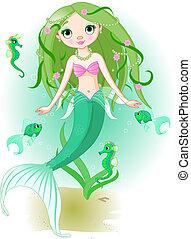 Mermaid Girl under the sea - Vector illustration of a cute ...