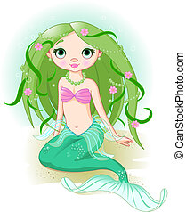 Vector illustration of a cute mermaid girl.