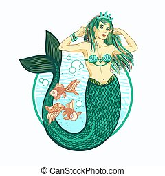 Mermaid girl with Crown. Isolated Vector Illustration.