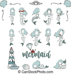 Mermaid girls vector illustration. Cute cartoon card with little mermaid. Under the sea. Pearl in the shell and starfish pastel colors. Fish, corals and seaweed cartoon style