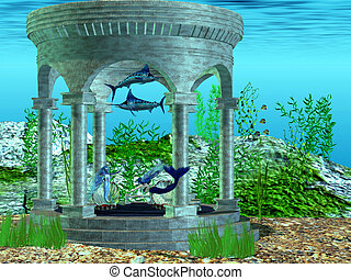 Mermaid Home - Two mermaids make their home in a structure...