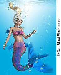 Mermaid in Aqua - A beautiful mermaid admires the colors in...