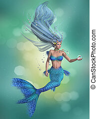 Mermaid in Blue - A mermaid is a fantasy sea creature with...