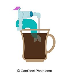 Mermaid in cup. Woman with fish tail in coffee mug?