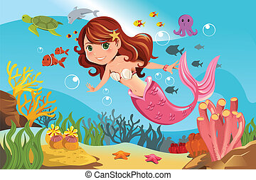 A vector illustration of a mermaid swimming underwater in the ocean