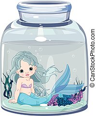 Mermaid sits in a transparent jar