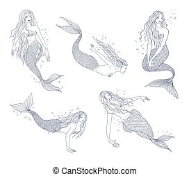 Collection naiad. Mermaid in various postures hand drawn contour illustration set.