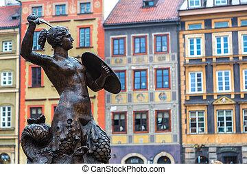 Mermaid in Warsaw - Mermaid - symbol of Warsaw in a summer ...