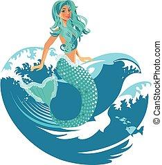 Mermaid in waves