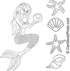 Mermaid isolated on white background Vector