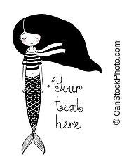 mermaid., mar, poco, siren., theme., hermoso