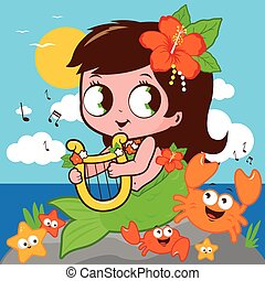 mermaid, music., 動物, 遊び, 海