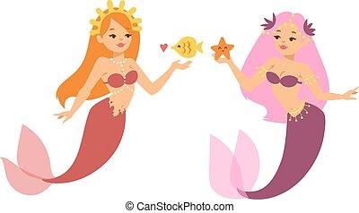 Mermaid nixie character vector illustration - Mermaid...