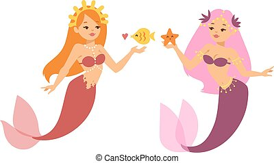 Mermaid nixie character vector illustration - Mermaid...