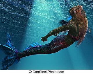 Mermaid of the Sea - Ocean light illuminates a magical...