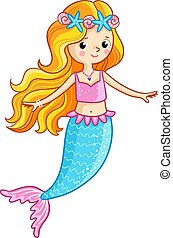 Mermaid on a white background.