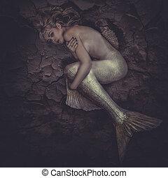 mermaid, opgesloten, in, een, zee, van, ??mud, concept, fantasie, visje, woma